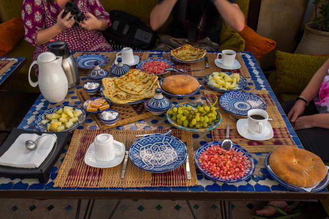 Breakfast on the terrace at Riad Laayoun, Fes, Morocco