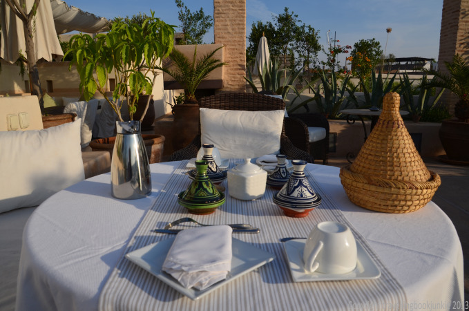 Breakfast on the terrace at Riad Camilia, Marrakech, Morocco