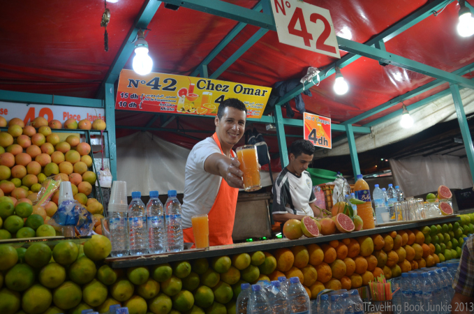 Fresh orange juice stalls are spread around the outskirts of the square, Djemaa El Fna