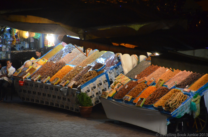 Plenty of dried fruits to choose from, Marrakech night market, morocco, Djemaa El Fna