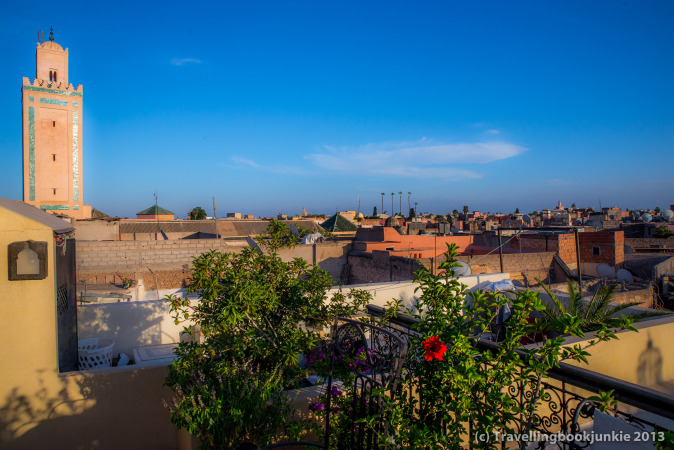 Views from the roof terrace of the riad cinnomon, Marrakech, Morocco