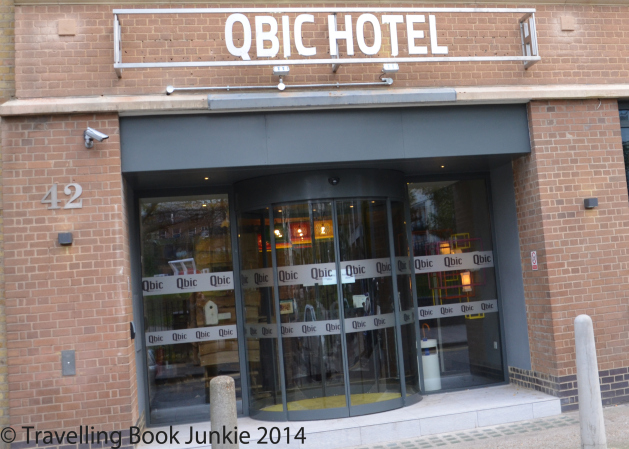 Entrance to Qbic Hotel, Aldgate, London UK