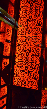 The decorative lift in the Renaissance hotel to take us up to the sky bar, Marrakech, Morocco