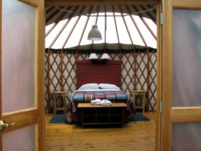 Inside the yurt with bed