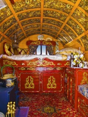 Inside the colourful gypsy caravan