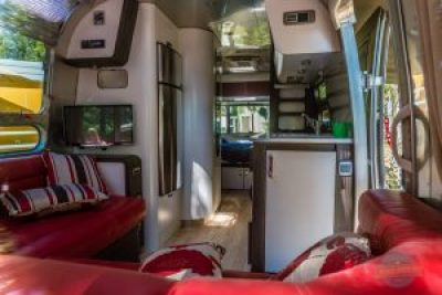 Inside Airstream with modern facilities