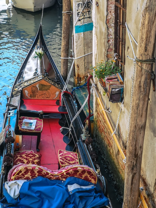The gondola of Libreria Acqua Alta in Venice where you can always relax with a good book.