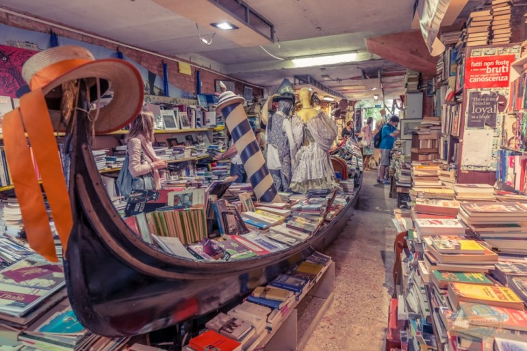 Gondola of books in Venice Italy