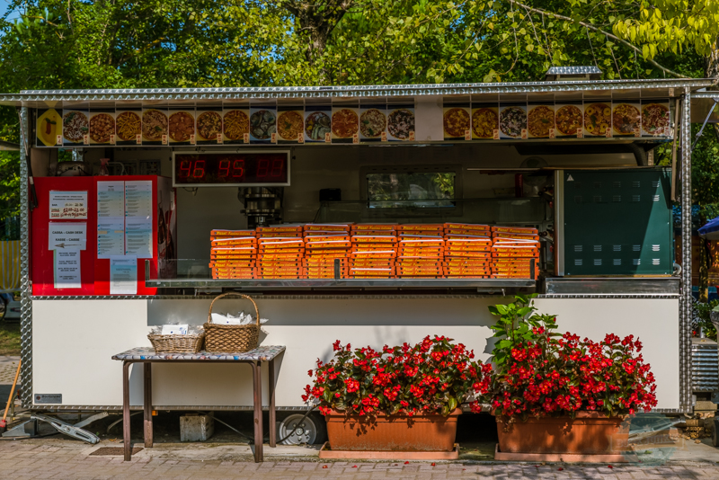 Pizza takeaway at camping ca savio in Venice, Italy