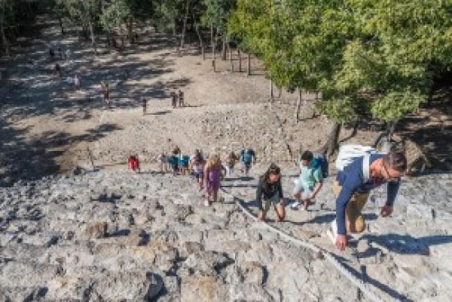 Climbing Nohoch Mul Coba, Mexico