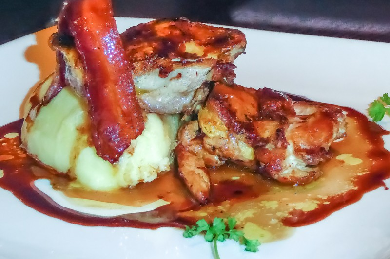 Pheasant main with bacon accompliment from the Apex off the wall restaurant in London