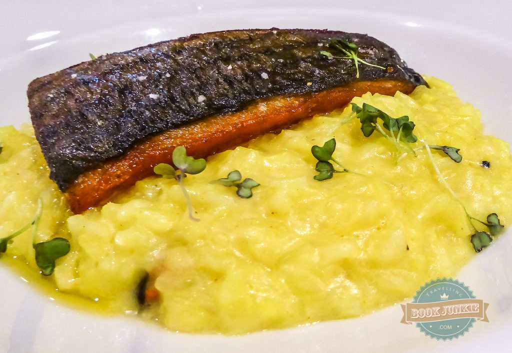 Bonito fish with lime and mussel risotto served at the Open restaurant at the Inspira Santa Marta Lisbon Portugal