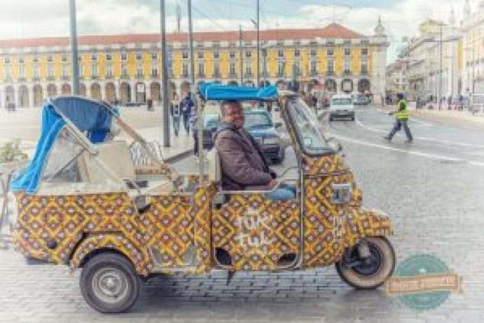A uniquely decorated Tuk-Tuk in Lisbon Portugal