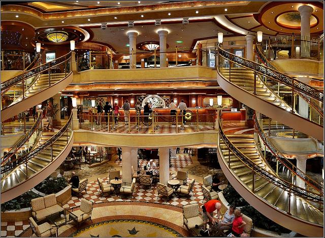 cruise ship, cruising, luxury travel, unique travel, atrium, lobby, travelling book junkie, cruise holidays,