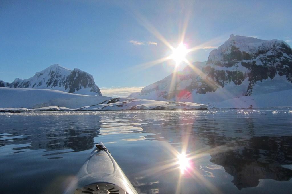Midnight kayaking, Antarctica, adventure travel, ice, watersports