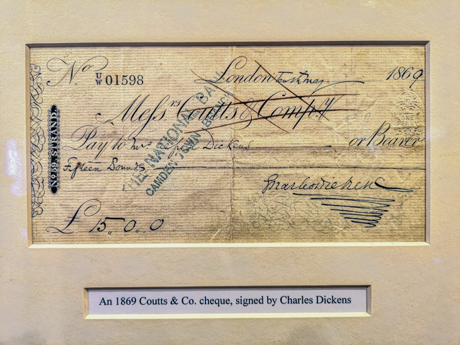 Signed cheque by Charles Dickens at The Angel Hotel in Bury St Edmunds, Suffolk