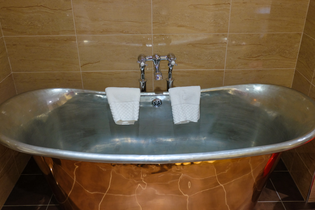The large copper bath at The Angel Hotel in Bury St Edmunds