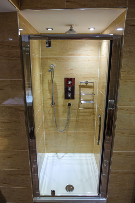 The luxury shower in the contemporary suite at The Angel in Bury St Edmunds