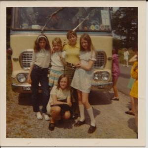 Travelling Coral with school friends 1970