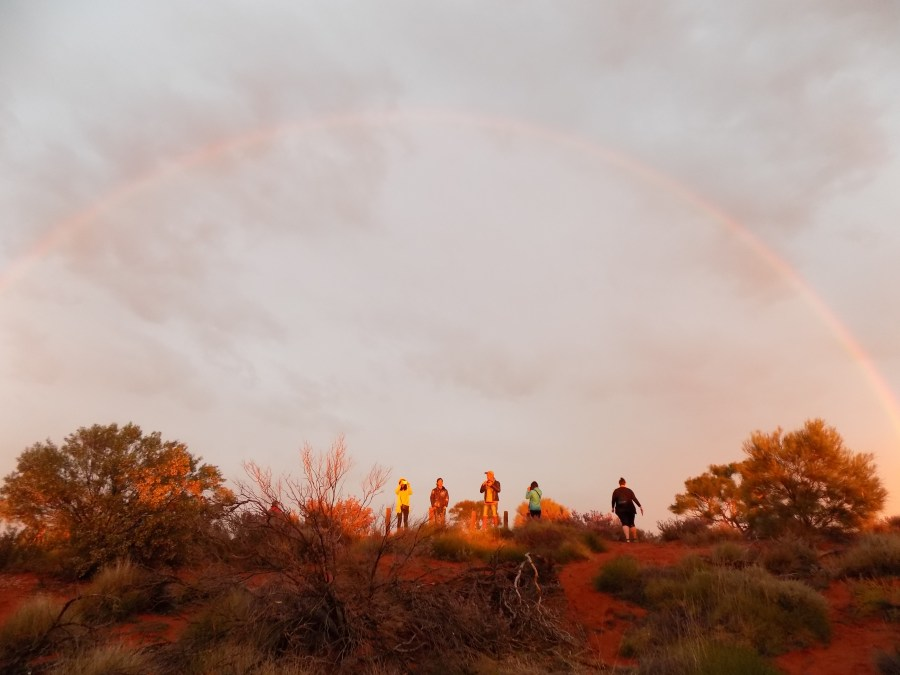 Double Rainbow during sunrise at Uluru