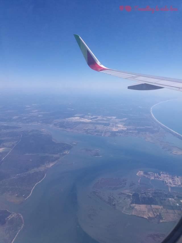 Las vistas del estuario del Tajo desde el avión