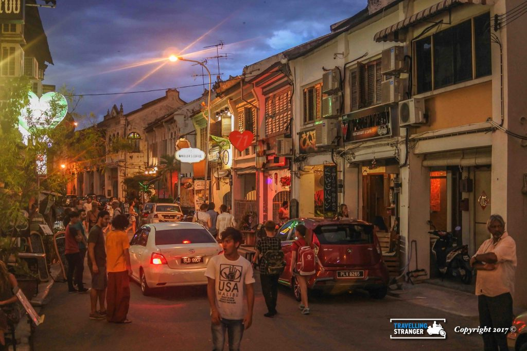 Night life, in the George Town area of Penang.