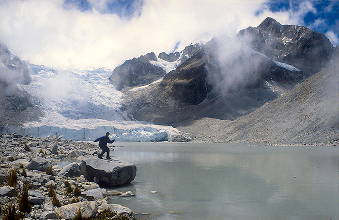 Standing next to a glacier lake in Sorata, Bolivia