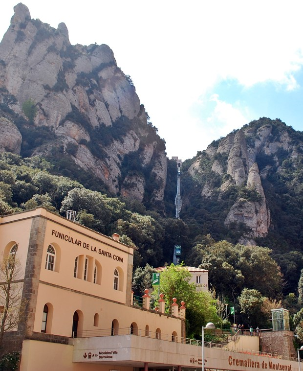 Looking up towards the funnicular at Montserrat