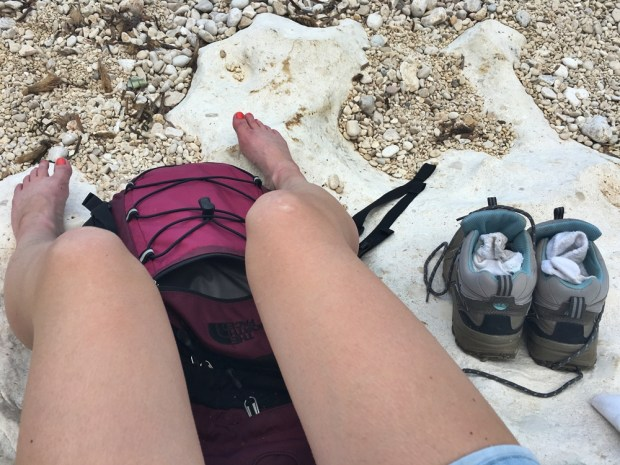 Resting my tired, blistered feet on the beach