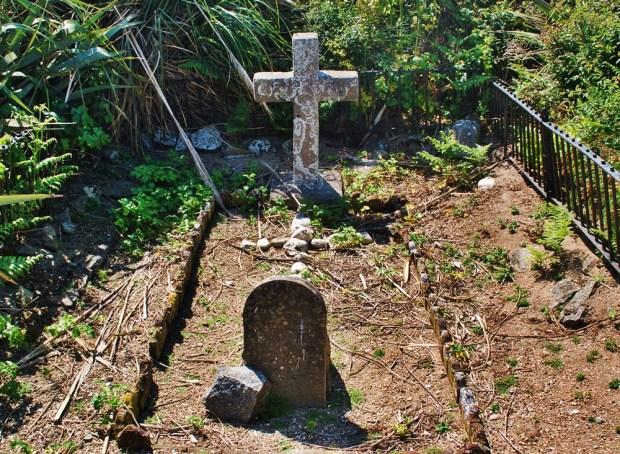 Headstones in the tiny Herm Island Cemetery