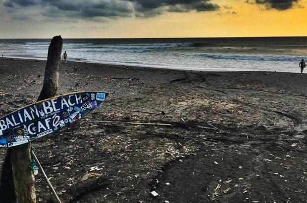 Sunset surfer on Balian Beach