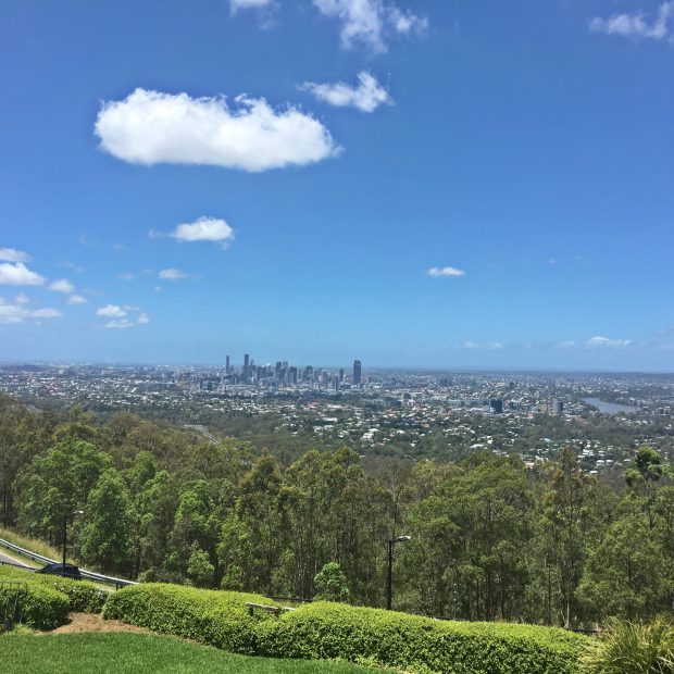 Looking out over the Brisbane skyline from Mt Coot-tah