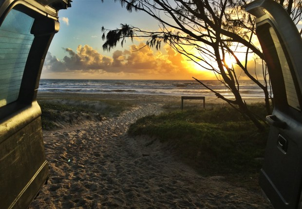 Sunrise from the back of a 4x4 Fraser Island