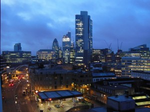 Breakfast with a view this morning from Crowne Plaza level 7, 100 Shoreditch High Street