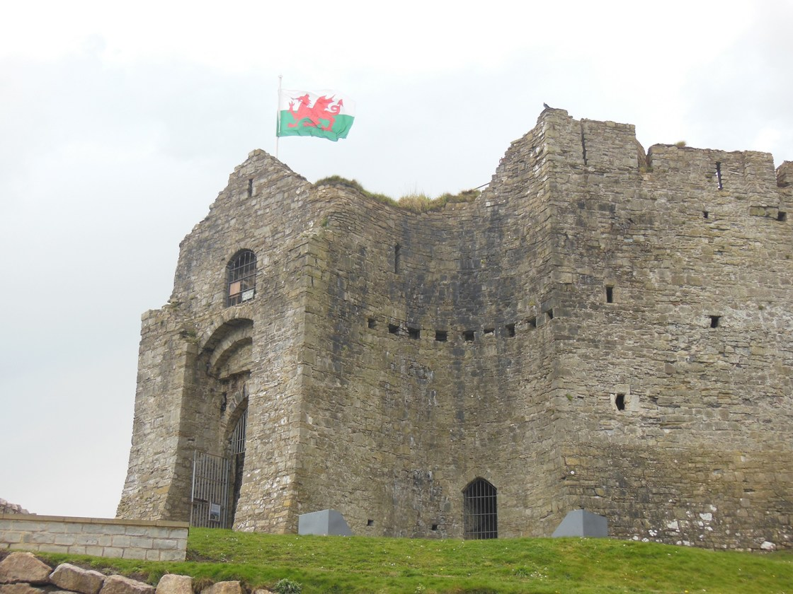 Swansea travellivelearn with flag Oystermouth Castle