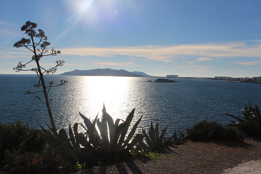 Ocean in Ibiza in winter, beautiful, with average weather in Ibiza during the day about 18 degrees