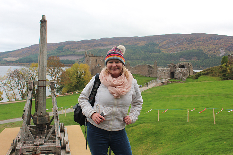 Things to do in Inverness - Sarah Blinco visiting the ruins of Urquhart Castle on Loch Ness
