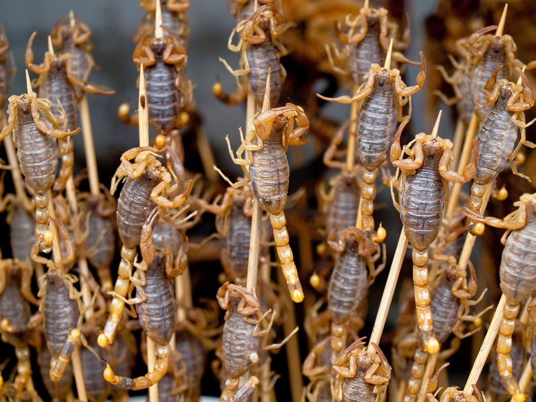Skewered Scorpions, Bangkok street markets, Thailand