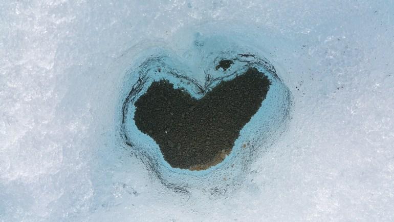 Heart-shaped glacier pocket.