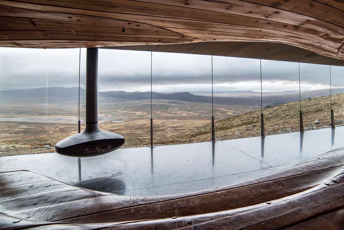 Snohetta Viewpoint und Tverfjell-Hütte im Dovrefjell Nationalpark