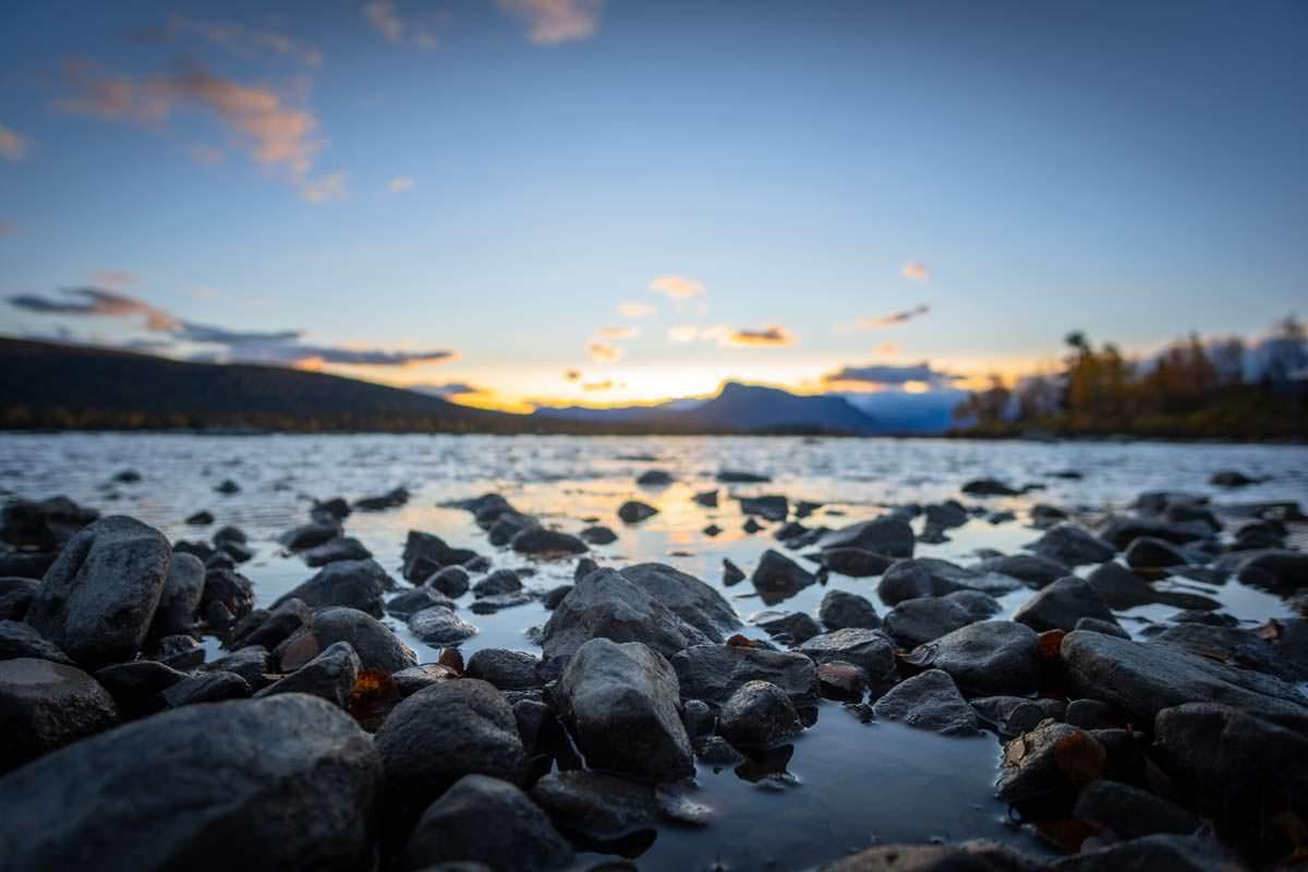 Sonnenuntergang über dem Laitaure See