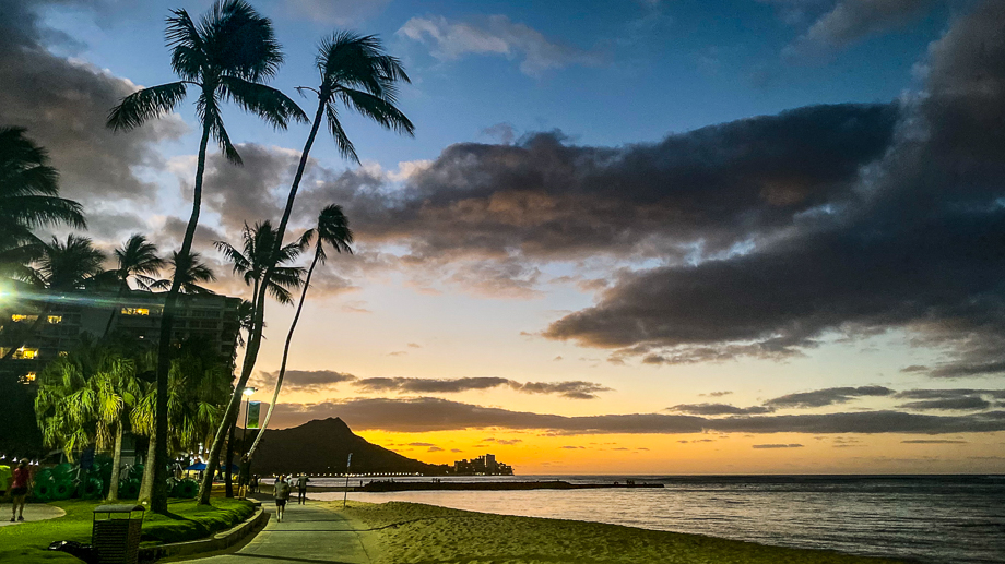Sunrise Over Diamond Head from Waikiki Beach