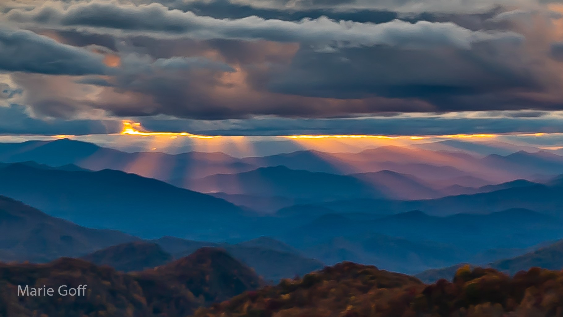 sunset in mountains with filtered light