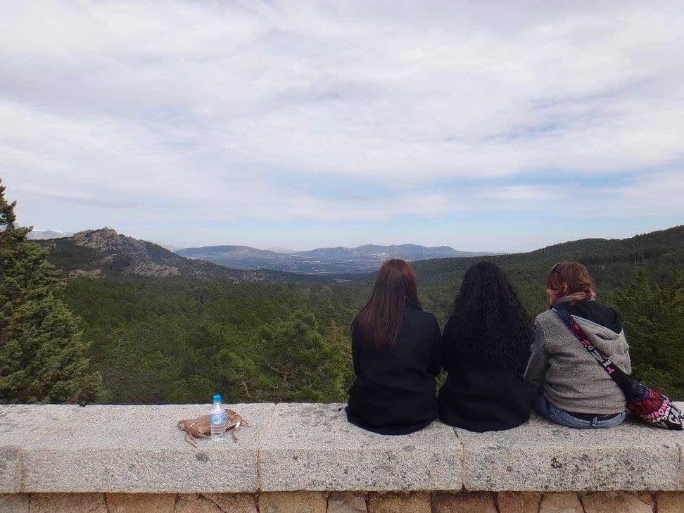 My friends and I taking in the view from Valle de los Caídos (Valley of the Fallen) monument, a quick day trip from Madrid.