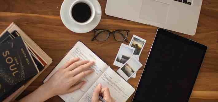 journaling about travel, coffee, glasses