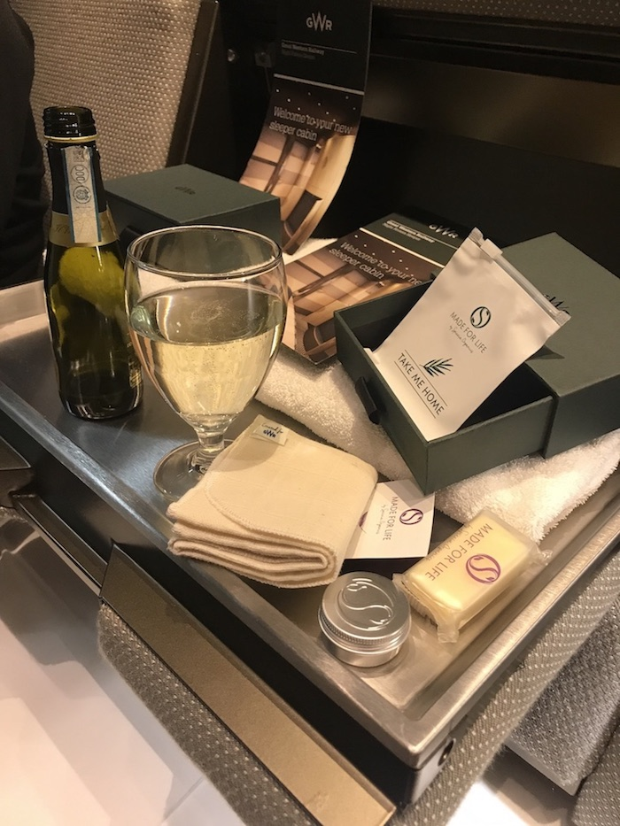amenity kit and wine on GWR night Riviera sleeper train