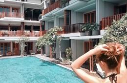 Best pool access hotel rooms in Bali - Kashlee Kucheran at pool