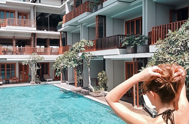 Best pool access hotel rooms in Bali - Kashlee Kucheran at pool