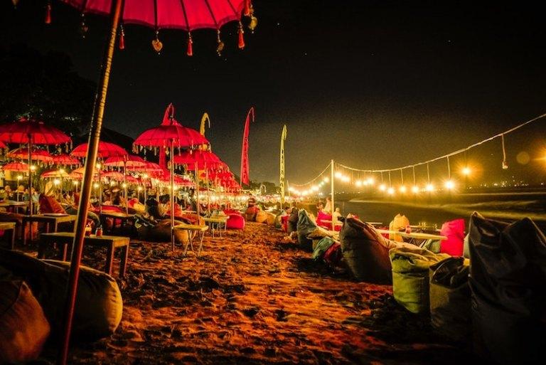 Kuta Beach at night Bali travel guide - different areas of bali