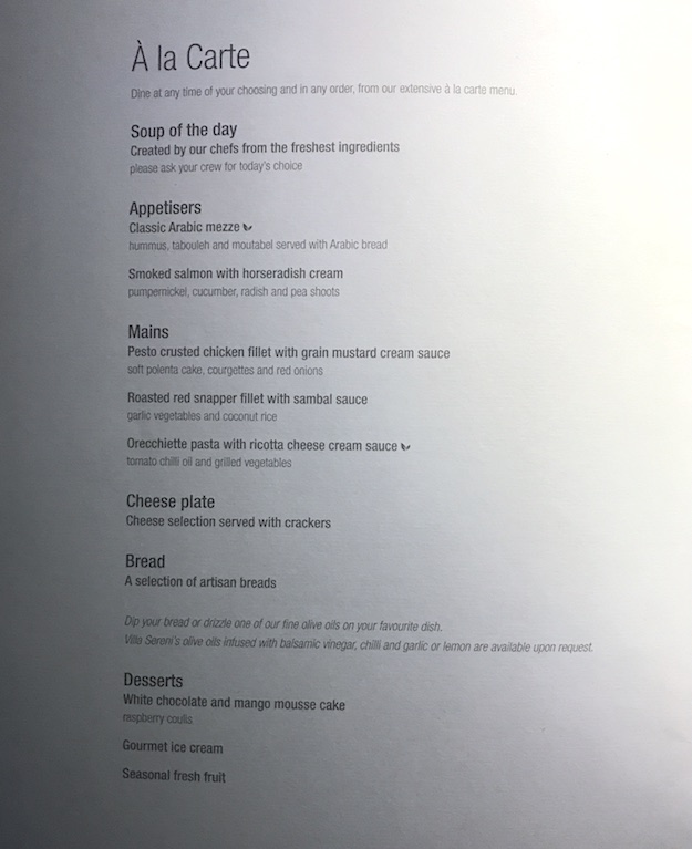Dinner Menu on Qatar 787 flight from Doha to Denpasar